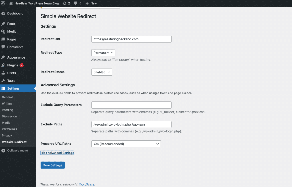 Simple Website Redirect plugin settings page.
