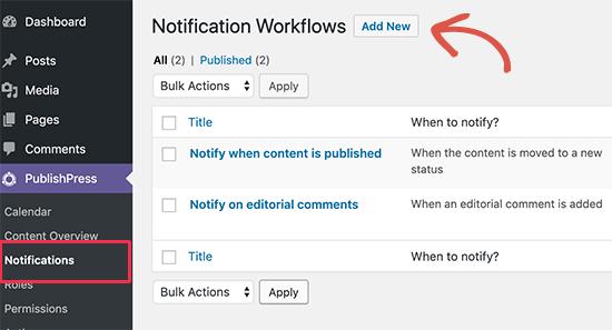 PublishPress Notification Workflows