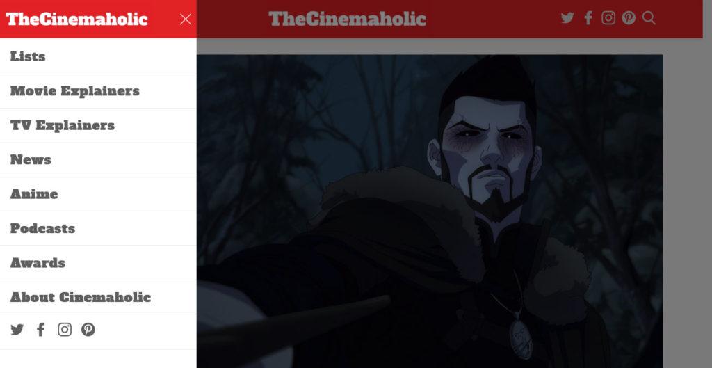 the cinemaholic slide in menu