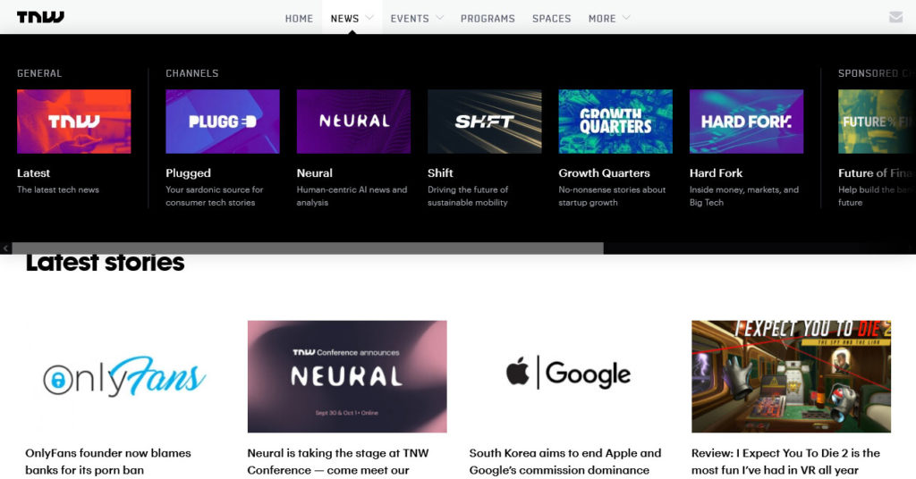 the next web channels and colors