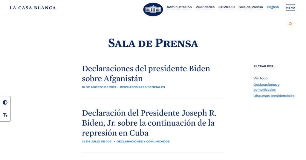 the white house spanish version blog