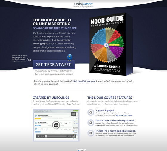 Unbounce landing page a/b testing example
