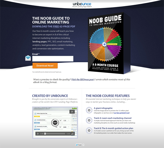Unbounce a/b landing page example asking users for an email address.