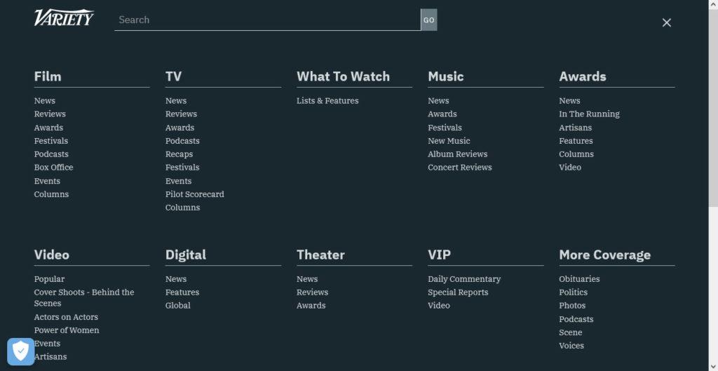 variety full screen menu