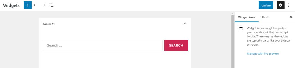 The widgets section in WordPress.