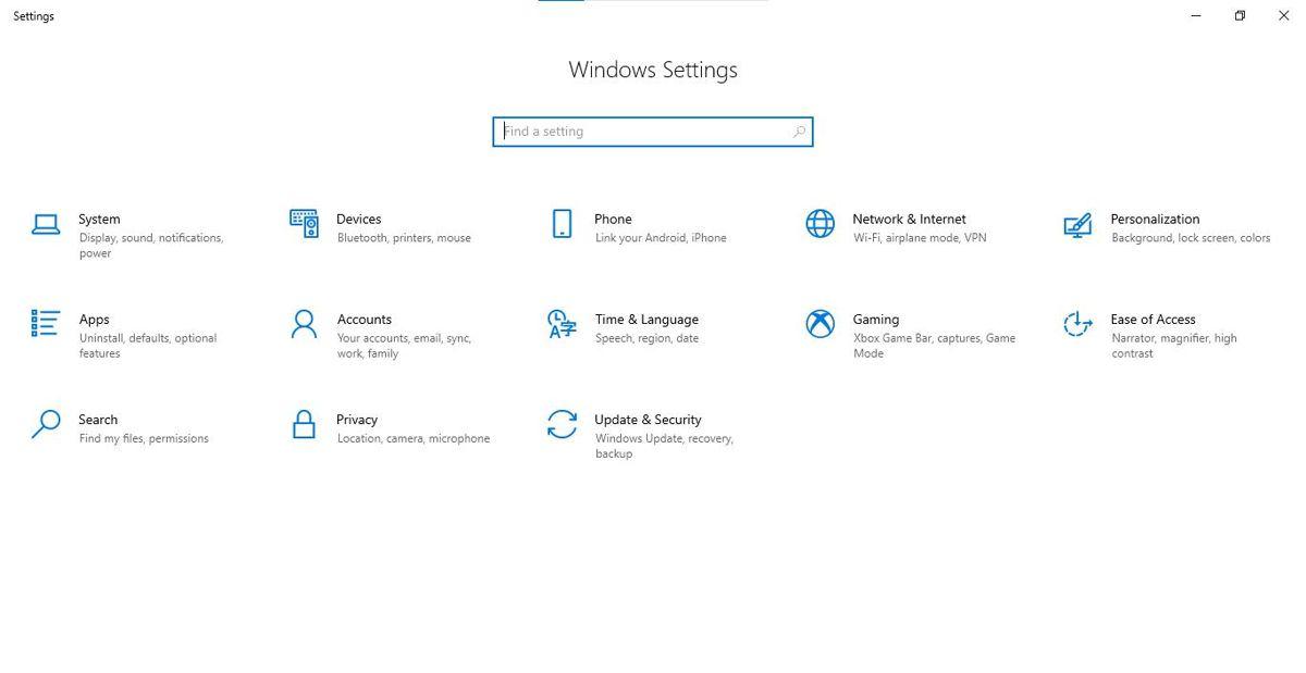 Windows 10 Settings via the Start Menu